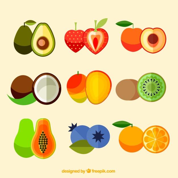 Confezione di gustosi frutti di design piatto Vettore gratuito