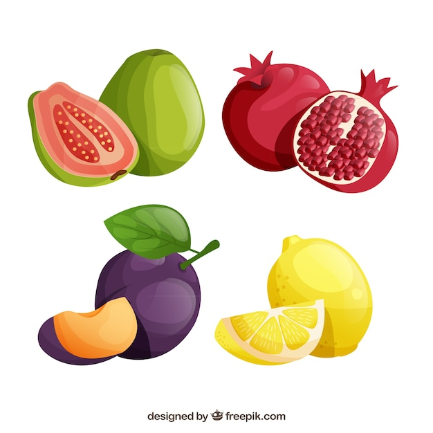 Pack of tasty fruits in realistic design Free Vector