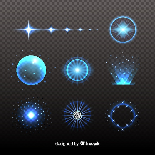 Pack of technology light effects Free Vector