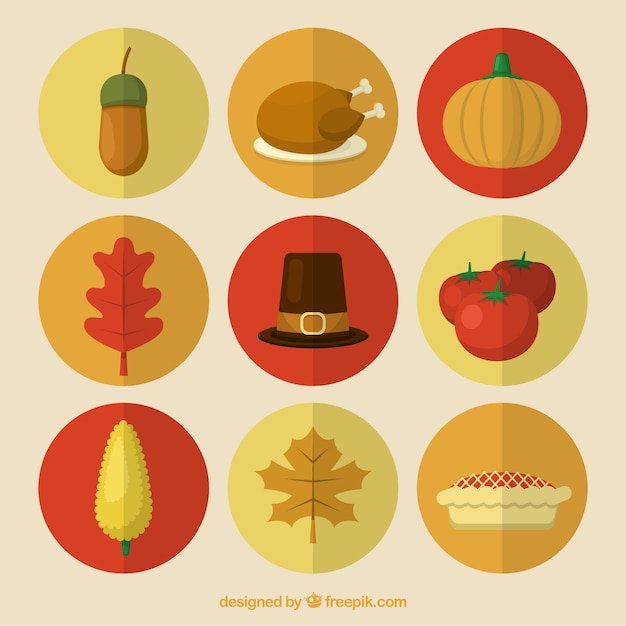 Pack of thanksgiving celebration elements Free Vector