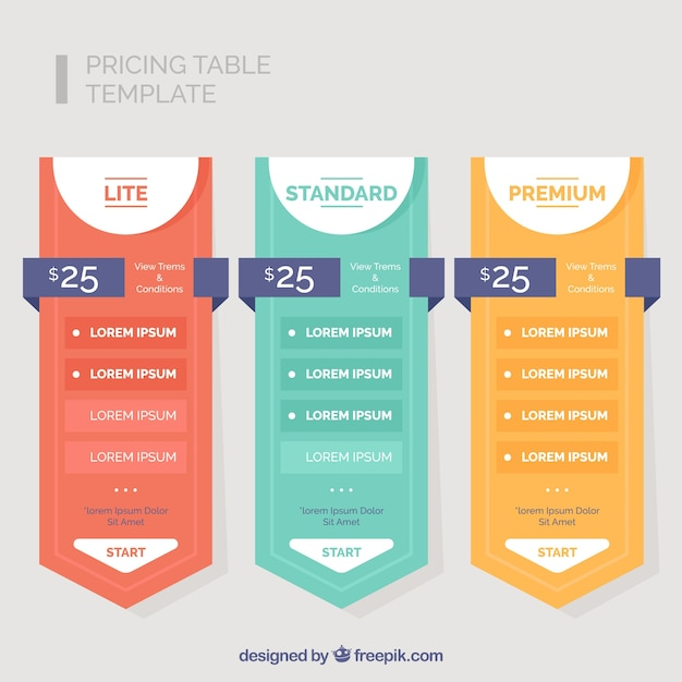 Pack of three colored price banners Free Vector