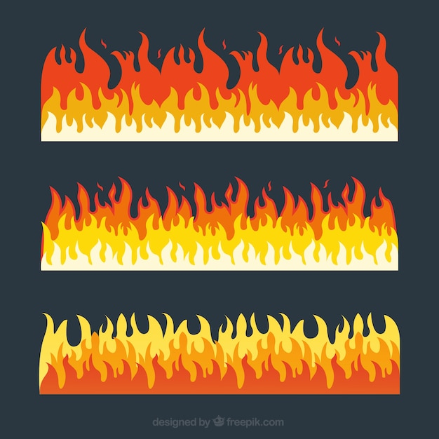 Pack of three fire borders with different colors Free Vector