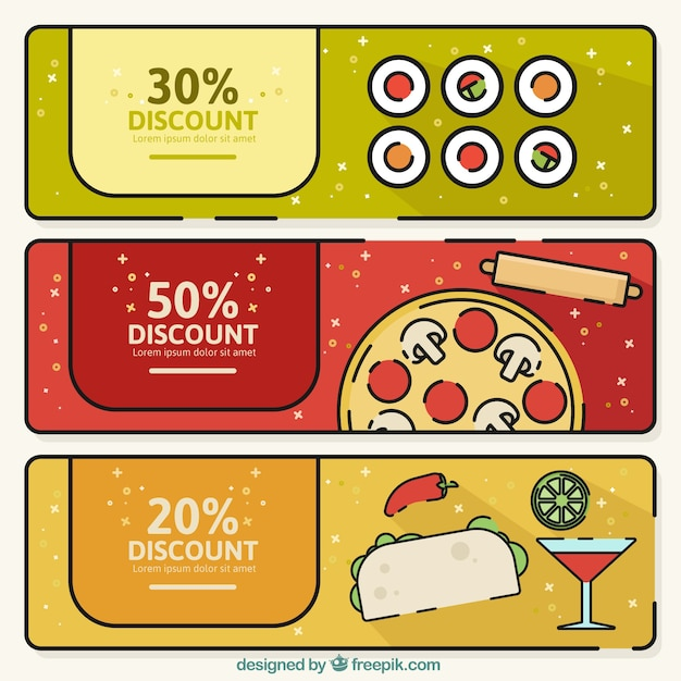 Pack of three restaurant banners with discounts Free Vector