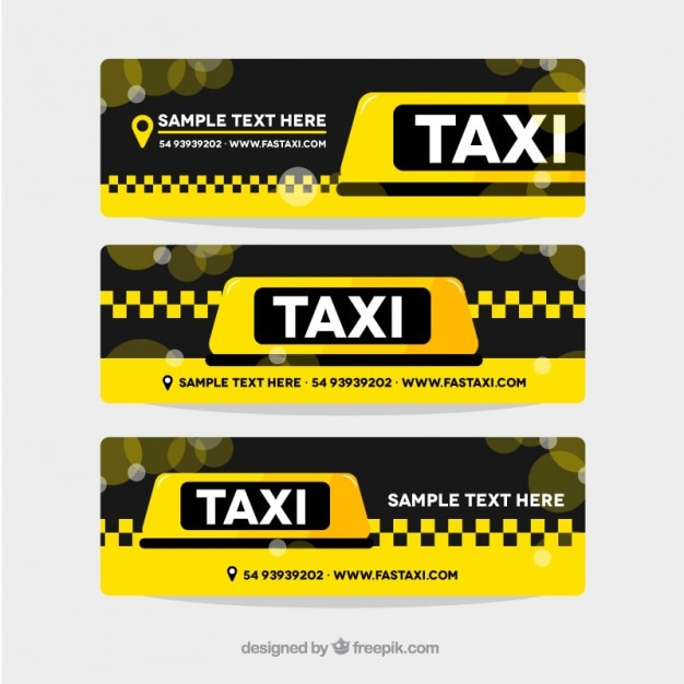 Pack of three yellow taxi banners Free Vector
