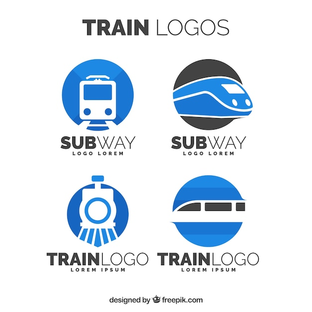 Pack Of Train Logos Free Vector