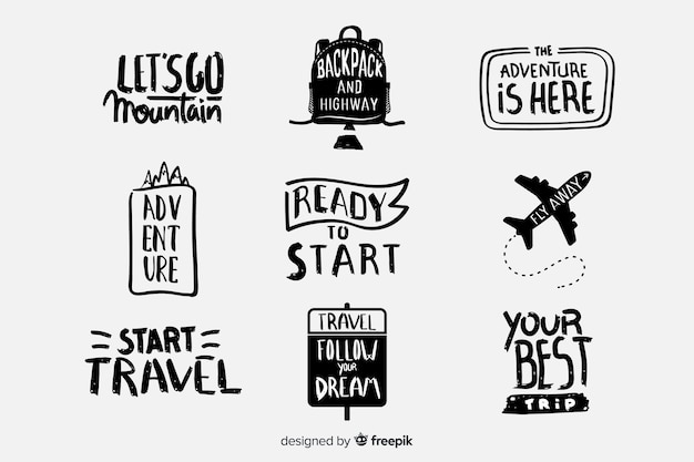 Pack of travel lettering badges Free Vector