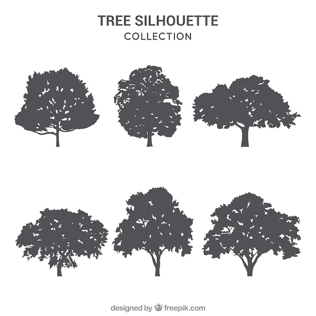 Pack of trees with silhouette Premium Vector