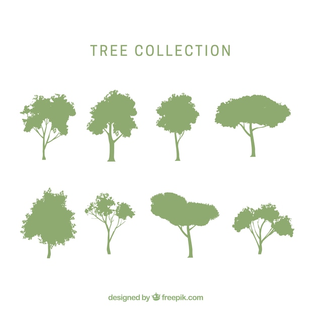 Pack of trees with silhouette Free Vector