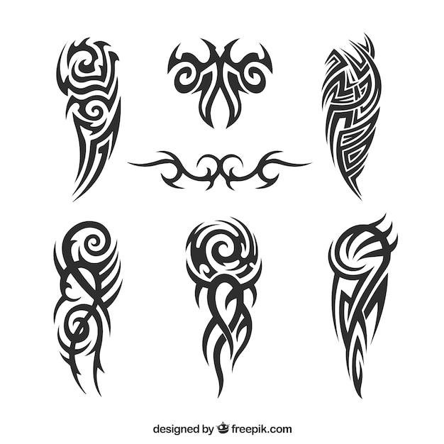 Pack of tribal tattoos Premium Vector
