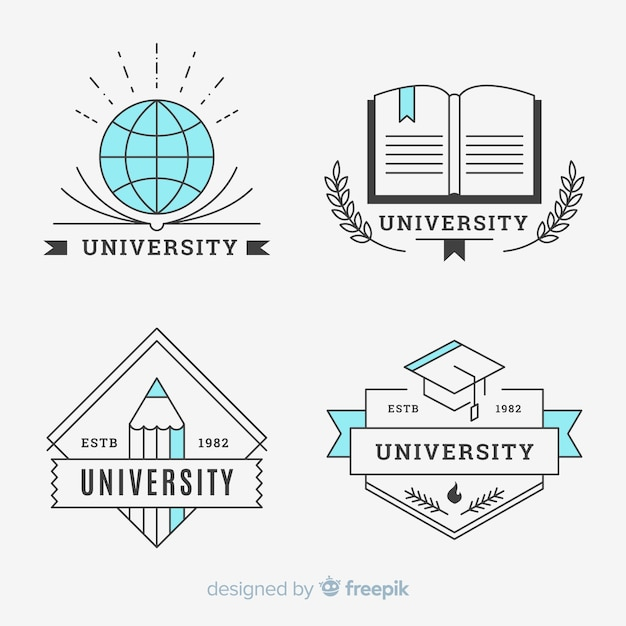 Pack of university logos in flat style Free Vector
