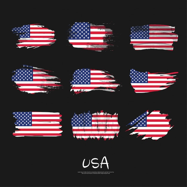 Pack of usa flag with  brush stroke. Premium Vector