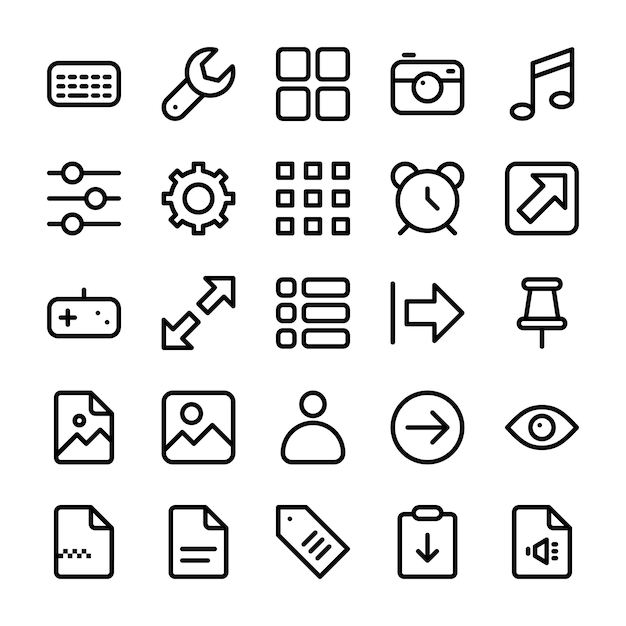 Pack of user interface icons Premium Vector