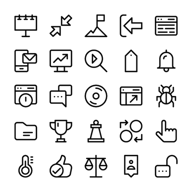 Pack of user interface line icons Premium Vector