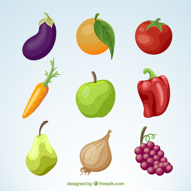 Pack of vegetables and fruits Free Vector
