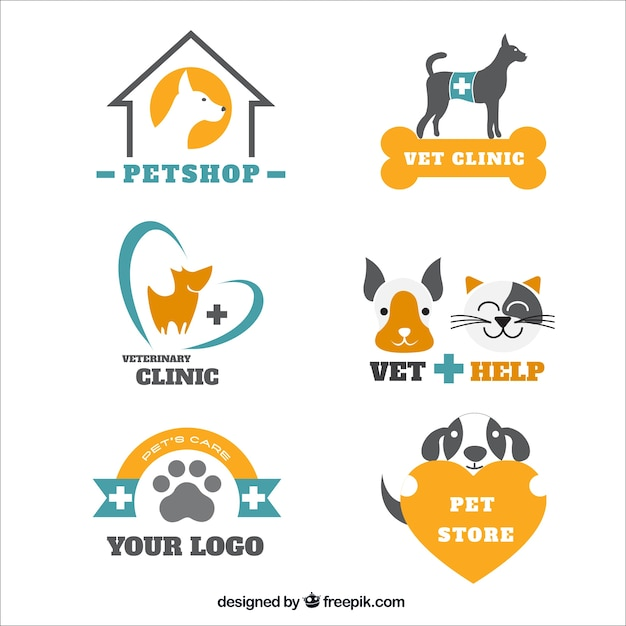Pack of veterinary logos and pet shop Free Vector