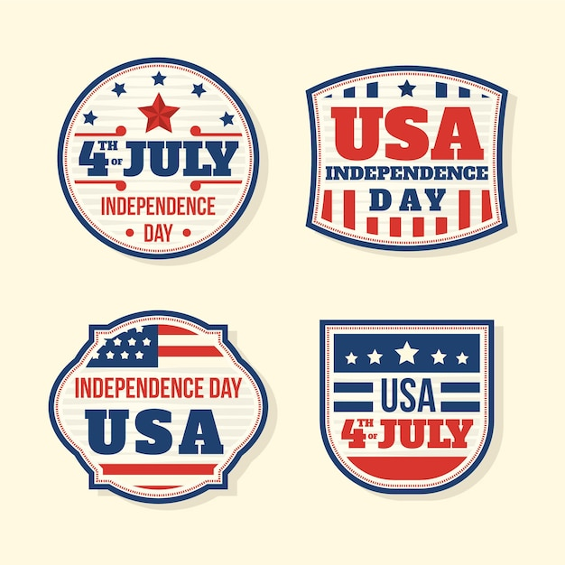 Pack of vintage 4th of july badge Free Vector