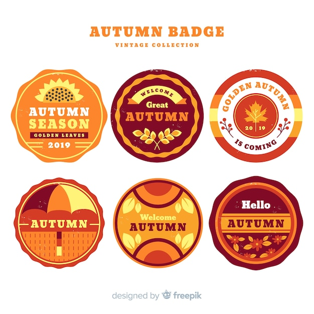 Pack of vintage autumn labels Free Vector