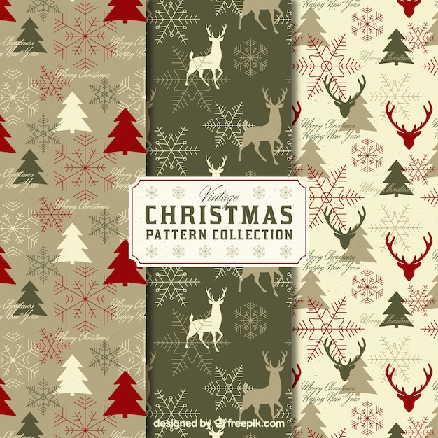 Pack of vintage christmas patterns Free Vector