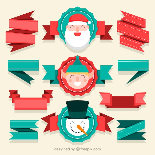 Pack vintage christmas ribbons with cute characters