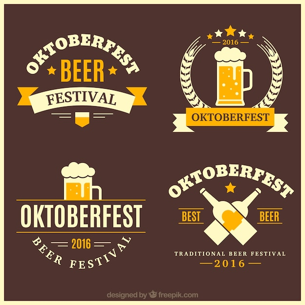 Pack of vintage decorative oktoberfest badges Free Vector