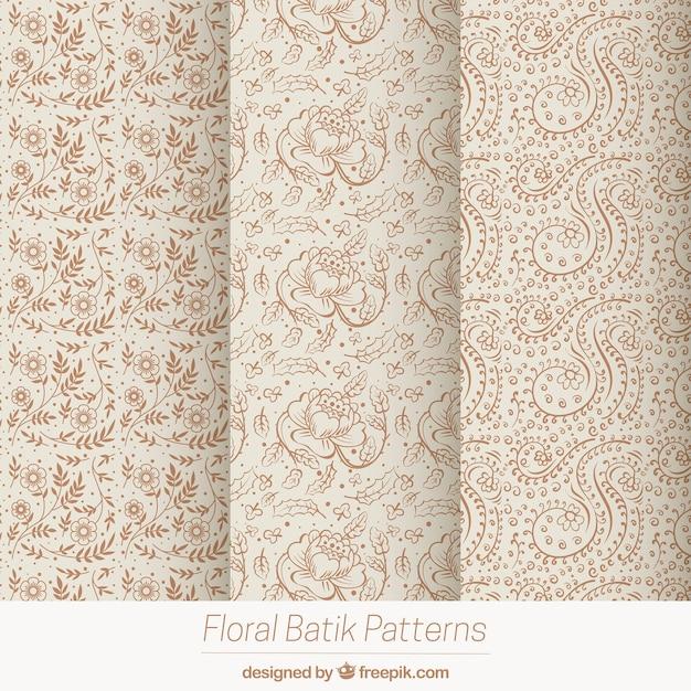 Pack of vintage flower sketches patterns Free Vector