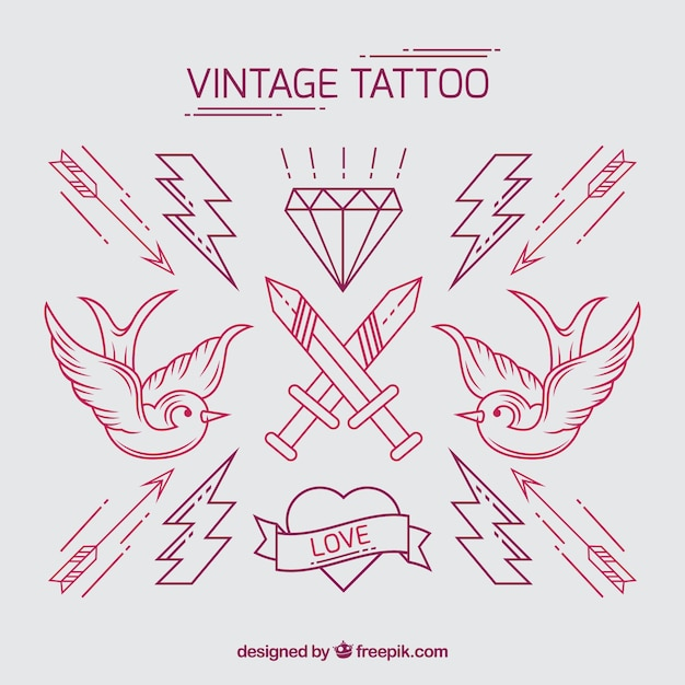 Pack of vintage hand drawn tattoos Free Vector