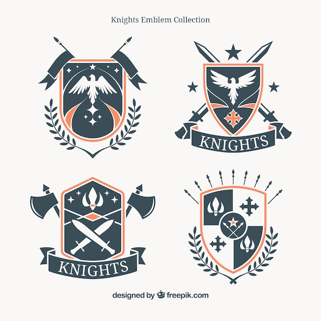 Pack of vintage heraldic shield insignia Free Vector