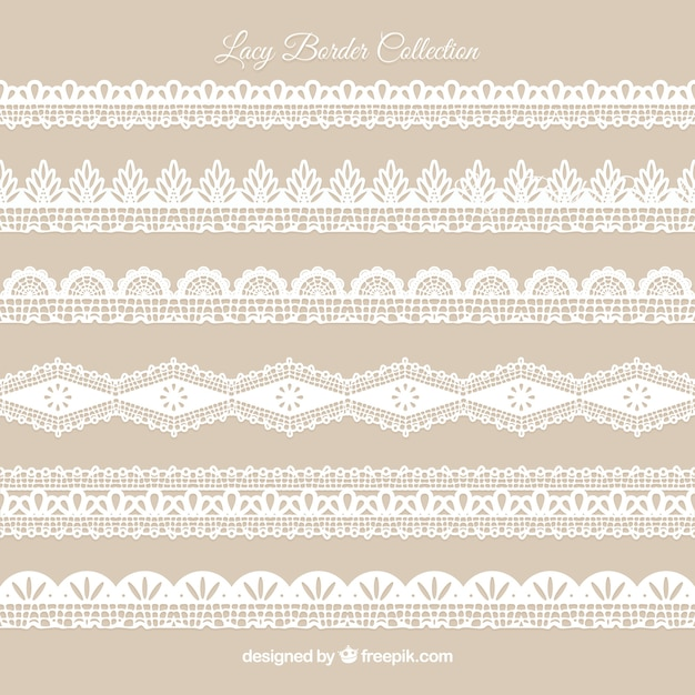 Pack of vintage lace ornaments Free Vector