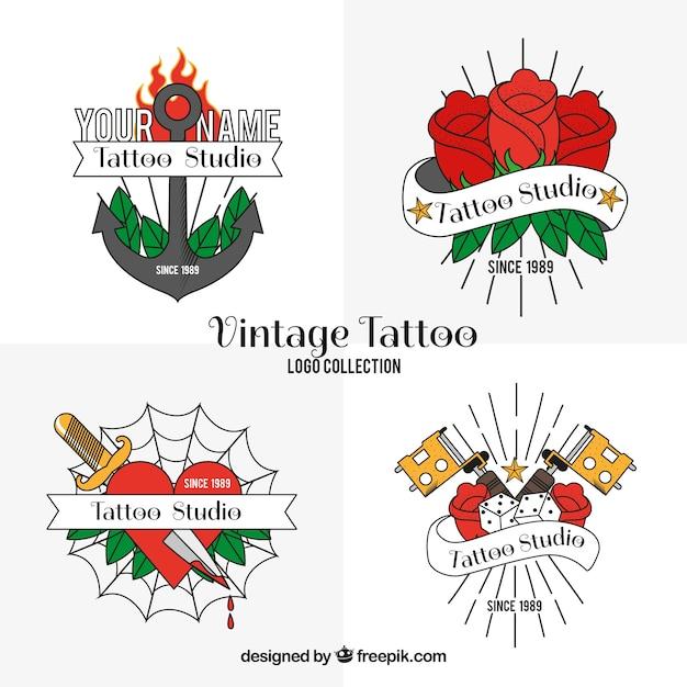 Confezione di loghi vintage di tatuaggi disegnati a mano Vettore gratuito