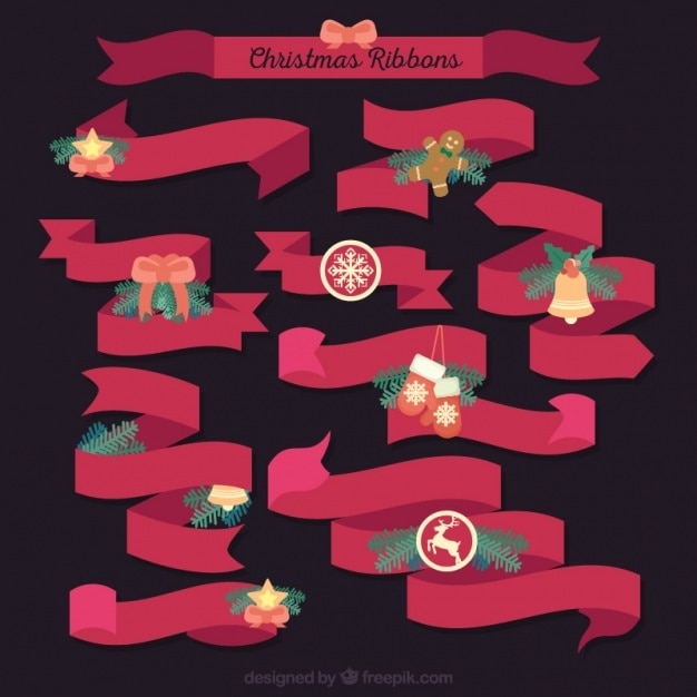 Pack of vintage ornamental red ribbons Free Vector