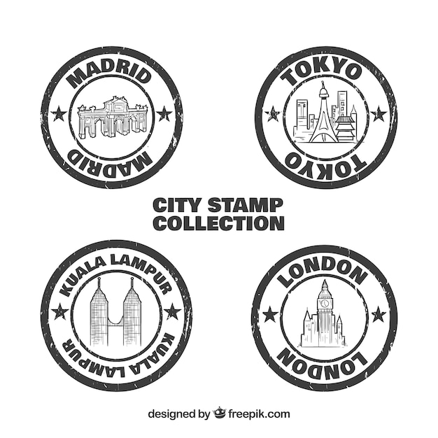 Pack of vintage round cities seals Free Vector