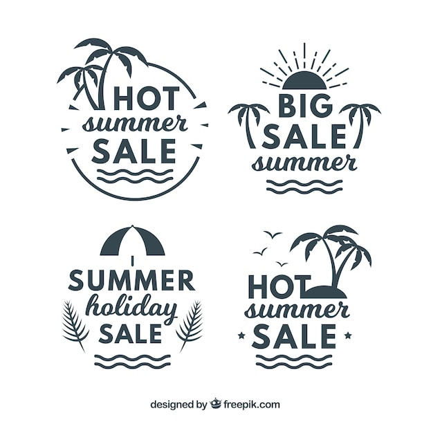 Pack of vintage summer sale stickers Free Vector