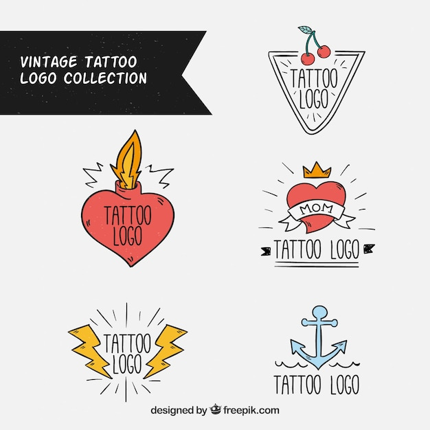 Pack of vintage tattoo logos Free Vector