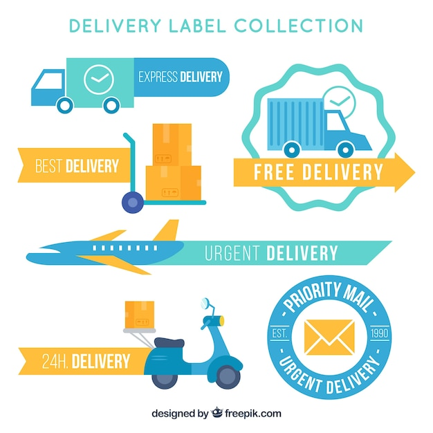 Pack of vintage transport and delivery stickers Free Vector