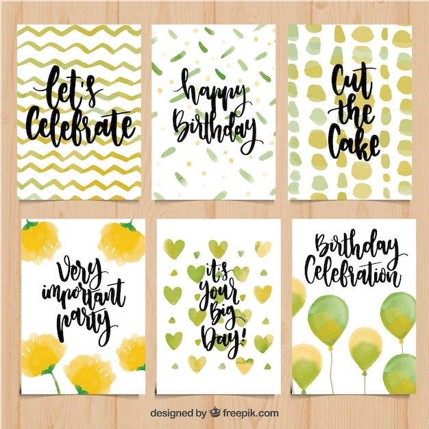 Pack watercolor birthday cards with messages