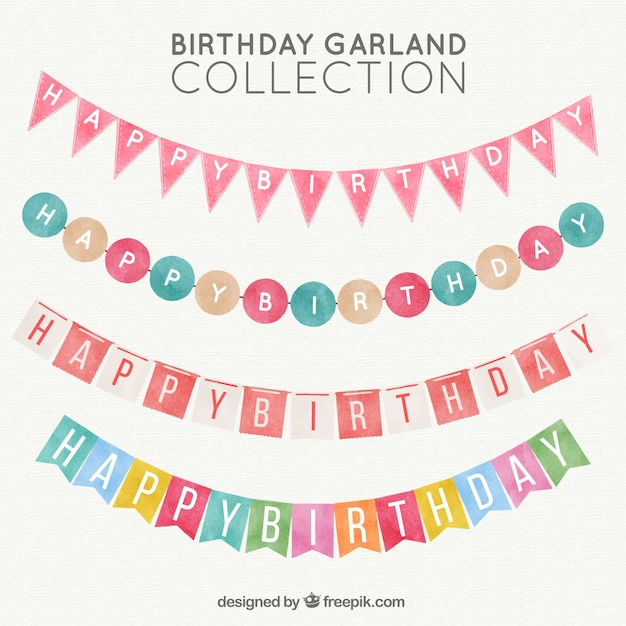 Pack watercolor birthday garlands