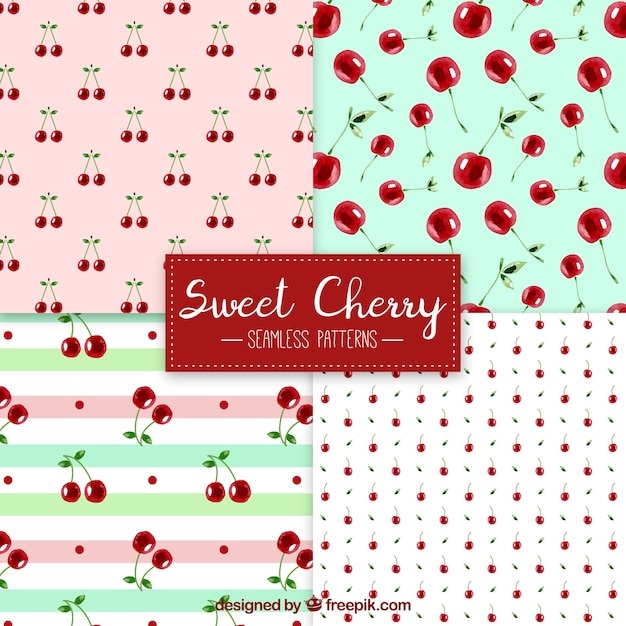 Pack of watercolor cherry patterns Free Vector