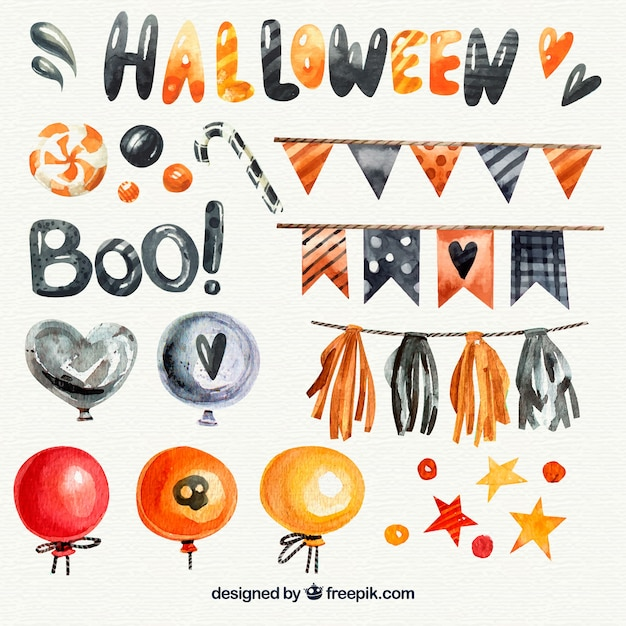 Pack of watercolor decorative halloween elements Free Vector