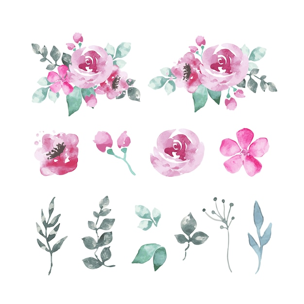 Pack of watercolor flowers and leaves in pinkish tones Free Vector
