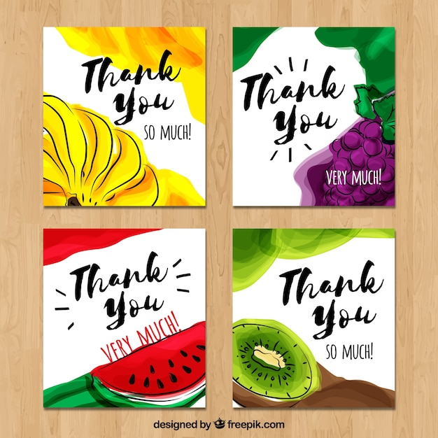 Pack watercolor fruit thank you cards