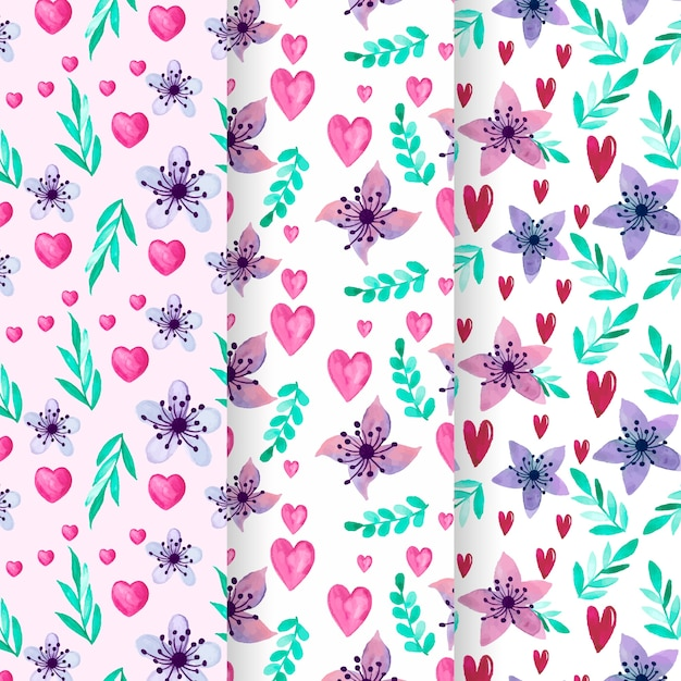 Pack of watercolor valentine's day pattern Free Vector