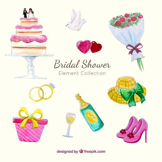 pack watercolor wedding elements and bridal shower free vector