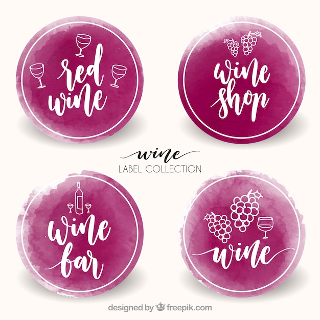 Pack watercolor wine stickers Free Vector