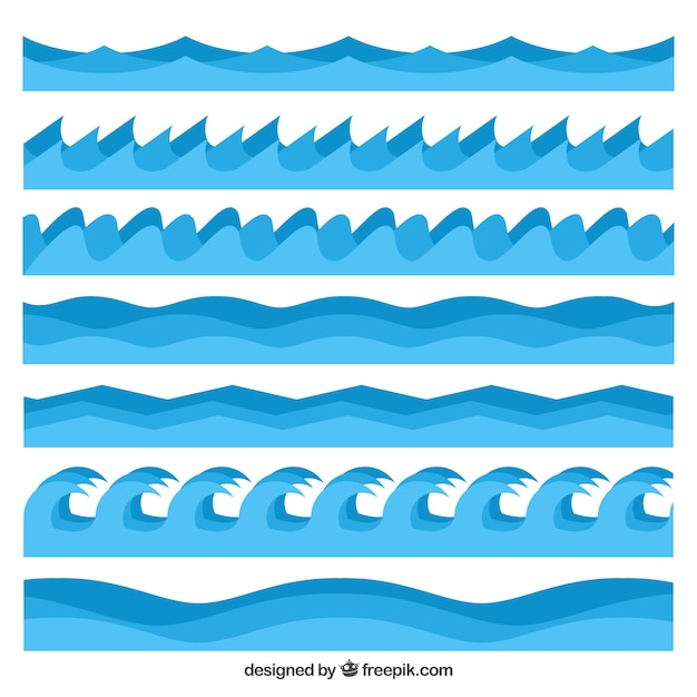 Pack of waves in different styles Free Vector