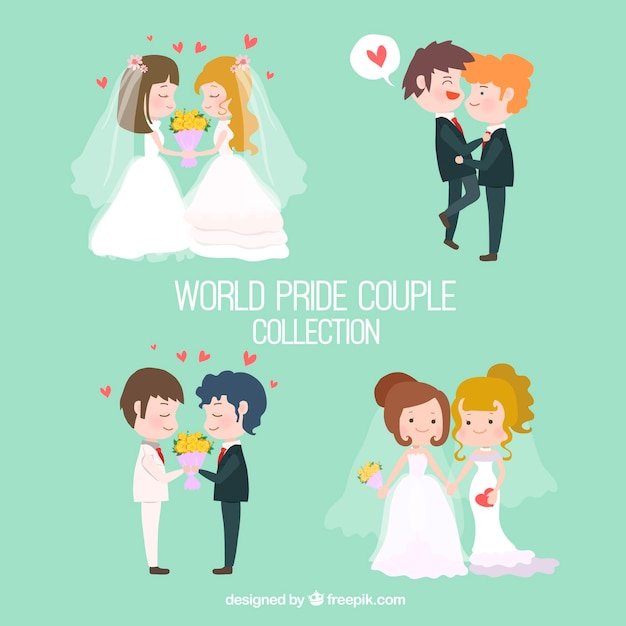 Pack of wedding couples Free Vector