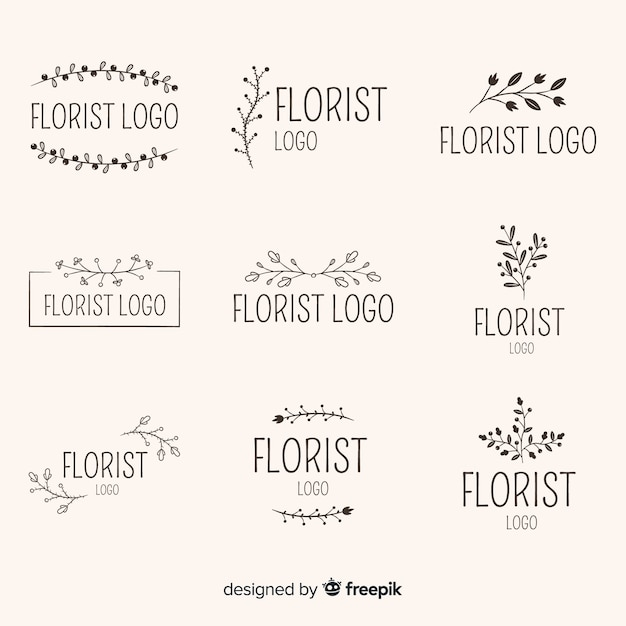 Pack of wedding florist logos Free Vector