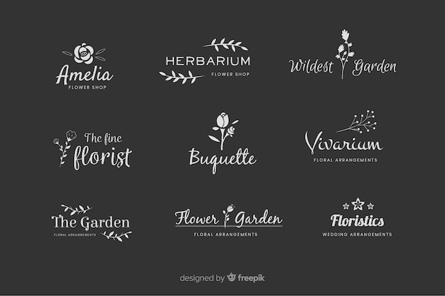 Pack of wedding florist logos Premium Vector
