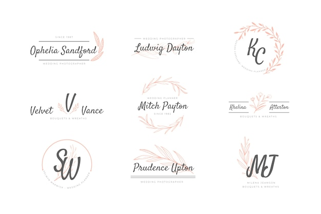 Pack of wedding logos Free Vector