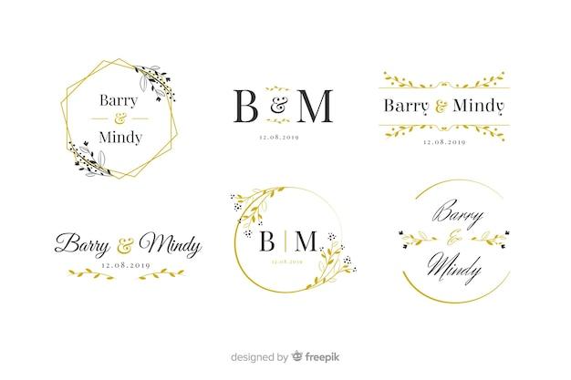 Pack of wedding monogram logos Free Vector
