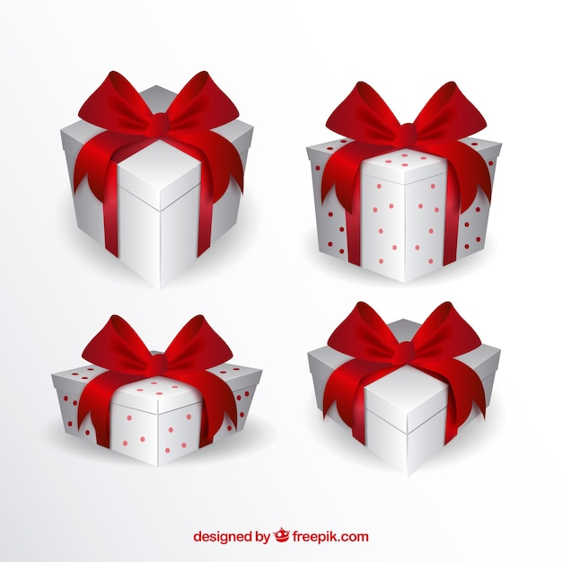 Pack of white gift boxes with red ribbons Free Vector